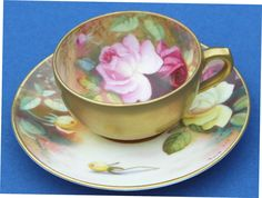 Royal Worcester Hand Painted Miniature Cabinet Cup & Saucer 1919 Signed Twin