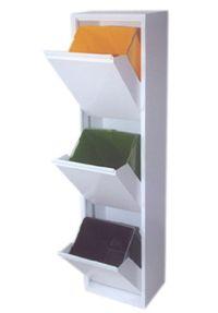 Hoge afvalbak met 3 compartimenten, binnenemmers zijn 15L per stuk. Verkrijgbaar in RVS, wit en grijs metallic