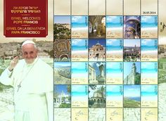 Pope Francis chose Israel for his first international visit and Israel is proud to mark this event with a set of special items. Israel Postal Company is offering this special souvenir stamp sheet in three languages - English, Hebrew and Spanish - which includes images of 12 important Christian holy sites in Israel.