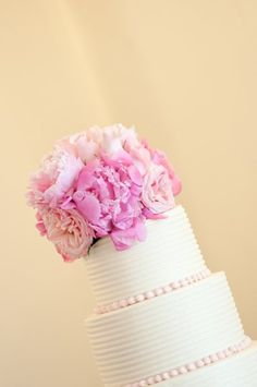 Romantic Pink Buttercream Flowers Garden Round Spring Wedding Cake Wedding Cakes Photos & Pictures - WeddingWire.com