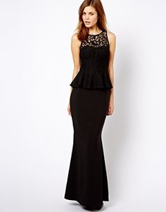 Jarlo Button Peplum Maxi Dress with Lace Collar - match wedding dress? (only in black)