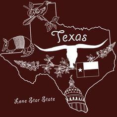 TEXAS / Embroidery Pattern / IRON-ON Transfer / by sassyspurz