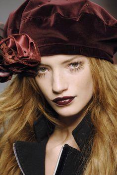 Dressmaker's hat - an embellished velvet beret. Maybe something to whip up with some of that leftover clothing velvet...