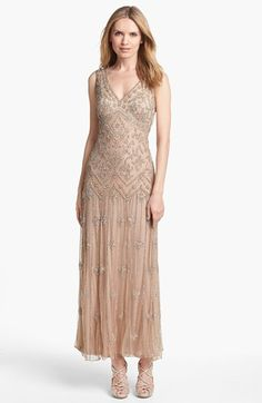 I like this one and personally I think it would be cool to cut the slip so it stops and the knee but keep the mesh with beads long. Pisarro Nights V-Neck Beaded Sequin Gown (Regular & Petite) available at #Nordstrom