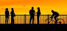 Bridge, Sunset, People, City, Cityscape