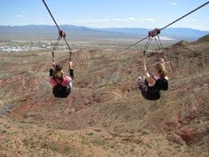 Bootleg Canyon zip line - Las Vegas.  I did this two years ago and it was seriously one of the most fun experiences in my entire life! And such a good price ($150) for what you get--a free shuttle from a strip hotel to the canyon, a gorgeous hike up the mountain, and four different zip lines to go down (all varying in length and speed) with the most amazing scenic views! I highly recommend this to everyone.