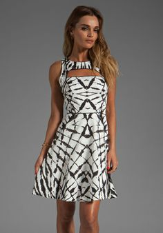 MILLY Fossil Print on Cotton Cut-Out Dress in Black/White