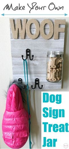 DIY Dog sign with treat jar and dog leash holder! Make this fun dog treat jar pet sign that is functional and adorable! #Vitabone Ad #dogaccessories