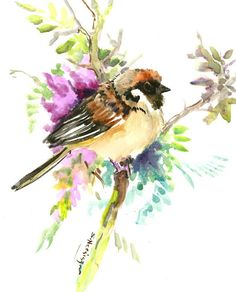 Sparrow on the Tree Artwork, original, one of akind watercolor painting, bird artwork, bird illustration by ORIGINALONLY on Etsy Watercolor Trees, Watercolor Paintings, Watercolor Portraits, Watercolor Landscape, Abstract Paintings, Watercolor Paper, Watercolors, Vogel Illustration, Tree Artwork