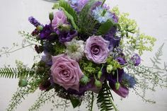 The Flower Magician: A Wild Naturally Hand Gathered Wedding Bouquet in Shades of Violet & Lavender, Groom's Boutonniere & Table Design Suggestions