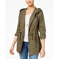 American Rag Hooded Utility Jacket, ($50) ❤ liked on Polyvore featuring outerwear, jackets, olive, military style jacket, military jacket, hooded anorak jacket, olive green jacket and olive green anorak jacket