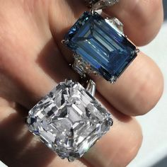 """The 36.09-carat """"Pohl"""" diamond ring and the 14.62-carat """"Oppenheimer Blue"""" diamond ring."""