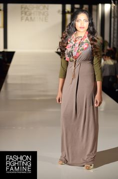Hijab House on the #FashionFightingFamine 2013 #FFFShow #runway. Styled by Fashion Fighting Famine. #taupe #summer #dress