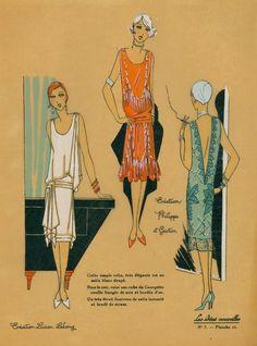 1920s evening dress design sketches  from Les Idees Nouvelles, Creation - Lucian Lelon