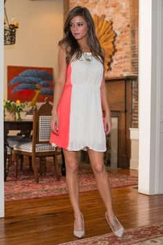 The Hourglass Figure Dress, Ivory-Neon Coral