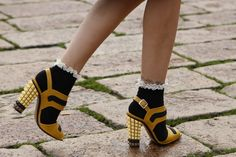 #MFW close up: Socks and sandals are becoming a key trend for this season, as seen with these @Fendi Huang heels and lace tipped socks