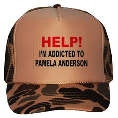 HELP! IM ADDICTED TO PAMELA ANDERSON Adult Brown Camo Mesh Back Hat / Baseball Cap