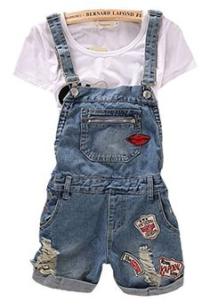 The #loose denim overall shorts is made pockets decorated, washed and fray. The graphic print will show your figure and your taste. The style is very specific. W...