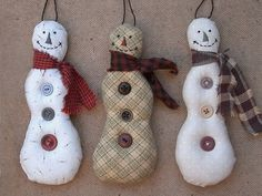 christmas tree ornament - snowmen by PatchworkPottery, via Flickr  http://www.flickr.com/photos/patchworkpottery/