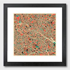 Monde Mosaic Berlin, Germany Map by Jazzberry Blue Framed Graphic Art | Wayfair.co.uk