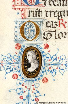 Pen flourished initials U and O with foliate extenders with medallion enclosing cameo of woman inscribed LVCRETIA ROMANA | Book of Hours | Italy, Milan | ca. 1450-1475 | The Morgan Library & Museum