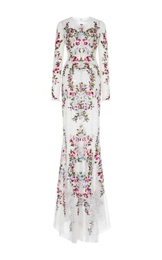 Thread Embroidered Long Sleeve Lace Gown by ZUHAIR MURAD for Preorder on Moda Operandi