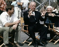 "Alfred Hitchcock and Rod Taylor on the set of ""The Birds"", 1963"