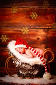 This baby in a sleigh: