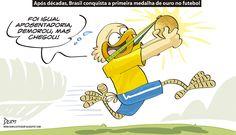 Charge do Dum (Zona do Agrião) sobre a primeira conquista de medalha do Brasil no futebol masculina em #JogosOlímpicos (21/08/2016). #Charge #Dum #Brasil #Futebol #Neymar #Ouro #Rio2016 #Olimpíada #JogosOlímpicos #HojeEmDia