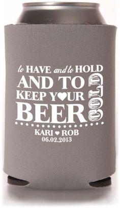 Yes, please. Beer koozies for favors at the reception #beer #brewbeer #homemadebeer #ilovebeer #howtomakebeer