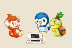 Pokemon - Chimchar, Pinplup, Turtwig
