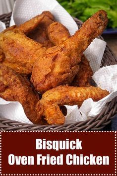 Oven-Fried Chicken - Bisquick As good as fried this easy oven baked chicken Bisquick recipe is delicious! Use wings, thighs, legs or boneless - super crunchy! Bisquick Fried Chicken, Fried Chicken Legs, Easy Oven Baked Chicken, Crispy Chicken, Chicken Leg Recipes Oven, Baked Chicken Drumsticks, Fried Chicken With Flour, Leftover Fried Chicken Recipes, Meat Recipes