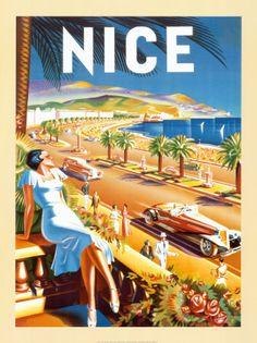 Cote d'azur vintage poster