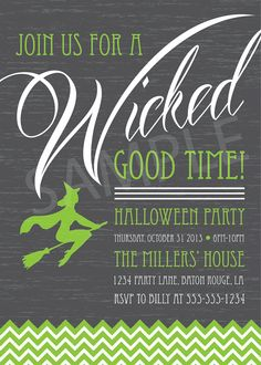 Printable Custom Personalized Witch Wicked Party Halloween Party Invitation