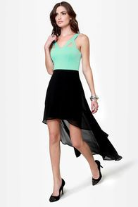 All's Well Black and Mint Green Dress