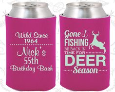 55th Birthday, 55th Birthday Party, Fishing Birthday Party, Hunting Birthday, Deer Birthday, Birthday Can Coolers, Birthday Coolies (20128)