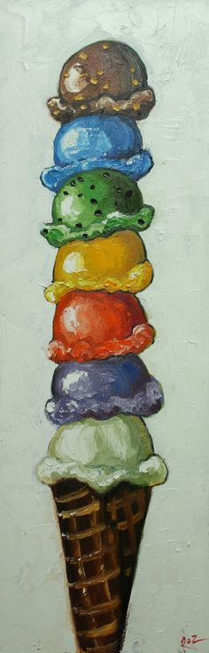Ice cream cone 4 12x36 inch original oil painting by Roz by RozArt, $275.00