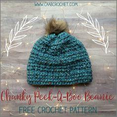 Chunky Beanie Crochet Pattern   Chunky Peek-A-Boo Beanie   free crochet hat pattern from Cute As A Button Crochet