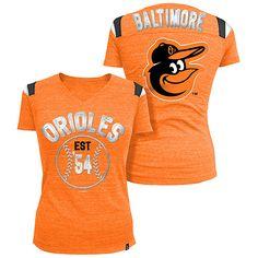 Baltimore Orioles Women's Throwback Tri-Natural V-neck T-Shirt by 5th & Ocean - MLB.com Shop