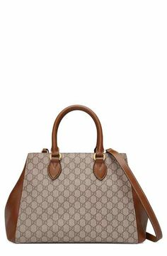 a104be7b7da Gucci Large Top Handle GG Supreme Canvas   Leather Bag Gucci Top