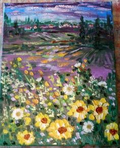 Original abstract impressionism oil painting  Provence Sunflower fields  Vadal #Impressionism