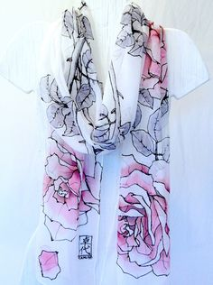 Hand painted silk scarf. White Pink Roses Silk Scarf. Luxury Silk. Silk Chiffon Scarf. Floral Silk Scarf. Silk Scarves Takuyo.11x90.. $158.00, via Etsy.