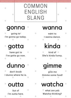 Slang words translated to formal English English Vinglish, Slang English, English Idioms, English Phrases, Learn English Words, English Lessons, English Course, English Tips, English Literature
