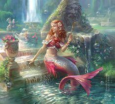 Canzone della sirena - Mermaid Artbook by gugu-troll on DeviantArt Mermaid In Love, Mermaid Man, Cute Mermaid, The Little Mermaid, Mythical Sea Creatures, Fantasy Creatures, Mermaid Illustration, Fantasy Illustration, Fantasy Castle