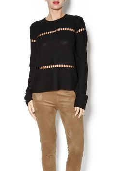 Black long sleeve sweater top with cut out detailing near shoulder and wrist. Features exposed back silver zipper. Black Knit Top by J.O.A.. Clothing - Tops Houston, Texas