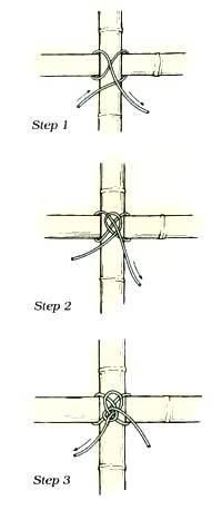 How to tie an Ibo knot when joining bamboo canes