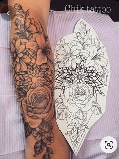 Tattoo Designs Foot, Tattoo Sleeve Designs, Flower Tattoo Designs, Tattoo Designs For Women, Mandala Flower Tattoos, Flower Sleeve Tattoos, Flower Mandala, Mandala Tattoo Design, Mandala Tattoo Sleeve