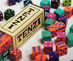 Tenzi is a great basic dice game with a ton of variations that are suitable both as a family game (up to 6 players) or a drinking game. The basic version of the game involves trying to roll the same number 10 times the fastest and comes with a deck of 77 cards that includes different ways to play.