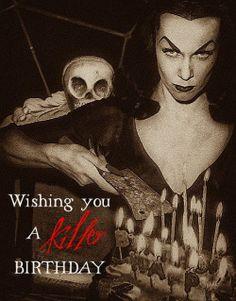 Vampira Happy Birthday Halloween, Great Birthday Wishes, Birthday Wishes And Images, Birthday Pins, Happy Birthday Funny, Birthday Messages, Birthday Greetings, Birthday Celebration, Birthday Memes
