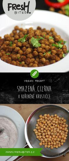 Desetiminutový recept na skvělou pochoutku k vínu, pivu, na salát i do polévky. Osmažte si cizrnu obalenou v mouce a koření a užijte si to krásné křupání.  #cizrna #smazenacizrna #pecenacizrna #koreni #kpivu #kvinu #vegan #vegetarian #smazene #snack #svacinka #chickpea #chickpeas #friedchickpea #spicy #friedfood #friedsnack #quickrecipe #rychlyrecept #recept #freshbites #freshbitesrecipe #freshrecipe #tasty #yummy #yummyfood #goodfood #homemadefood #food #foodphotography #foodpics… Korn, Chana Masala, Finger, Good Food, Vegetables, Ethnic Recipes, Fingers, Vegetable Recipes, Healthy Food